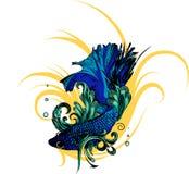 Poissons de combat de Betta Siamese d'or, Pla-kad de splendens de Betta thaïlandais Poissons de Betta illustration de vecteur