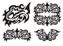 Poissons de dragon et éléments tribals de poissons Photo libre de droits