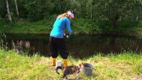 Poissons de femme dans l'étang, faon de chat le long des pieds Nature de temps gratuit d'amusement Photos libres de droits
