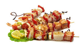Poissons de fruits de mer et BBQ de crevette Images libres de droits