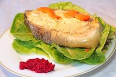Poissons de gefilte juifs traditionnels de nourriture Photographie stock libre de droits