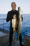 Poissons de la prise deux de pêcheur grands vers le haut Images libres de droits