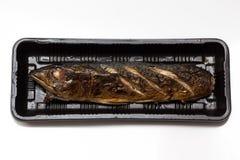 Poissons de maquereau de gril d'épicerie fine dans la mousse Photographie stock libre de droits