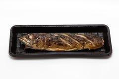 Poissons de maquereau de gril d'épicerie fine dans la mousse Images stock