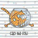 Poissons de observation de chat gai dans l'aquarium Style mignon de griffonnage Fond ray? Vecteur illustration stock