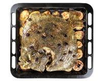 Poissons de turbot en four de moule avec des olives de pommes de terre et aromatique images stock