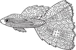 Poissons de zentangle de griffonnage Page de coloration avec l'animal marin pour l'adul Photographie stock libre de droits