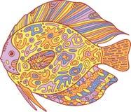 Poissons de zentangle de griffonnage Page de coloration d'art de zen pour des adultes Photographie stock libre de droits