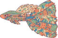 Poissons de zentangle de griffonnage Page de coloration d'art de zen pour des adultes Images stock