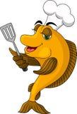 Poissons drôles de cuisinier de dessin animé Photo stock