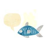 poissons drôles de bande dessinée avec la bulle de la parole Images stock