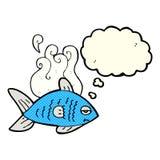 poissons drôles de bande dessinée avec la bulle de pensée Photo libre de droits