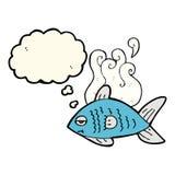 poissons drôles de bande dessinée avec la bulle de pensée Images stock