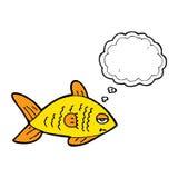 poissons drôles de bande dessinée avec la bulle de pensée Photos libres de droits