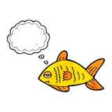 poissons drôles de bande dessinée avec la bulle de pensée Image stock