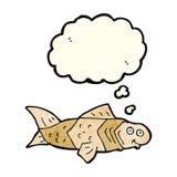 poissons drôles de bande dessinée avec la bulle de pensée Photo stock
