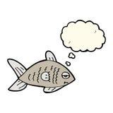 poissons drôles de bande dessinée avec la bulle de pensée Images libres de droits