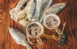 Poissons et bière secs Image stock