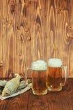 Poissons et bière secs Photo libre de droits