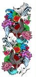 Poissons et fleur colorés de koi Photos libres de droits