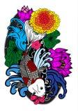Poissons et fleur colorés de koi Images libres de droits