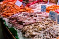 Poissons et fruits de mer chez le Boqueria célèbre à Barcelone Images libres de droits
