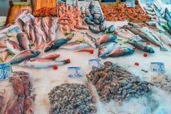 Poissons et fruits de mer chez le Vucciria Photos stock