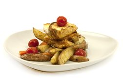 Poissons et légumes frits Images libres de droits