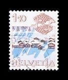 Poissons et Nax près des signes de Sitten, de zodiaque et du serie de paysages, vers 1982 Photo libre de droits