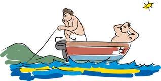Poissons et pêcheur illustration de vecteur
