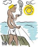 Poissons et pêcheur illustration libre de droits