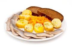 Poissons et pommes de terre Photographie stock