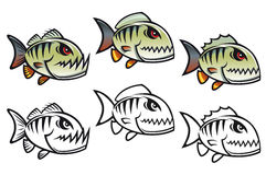 Poissons fâchés de piranha de dessin animé Photo stock