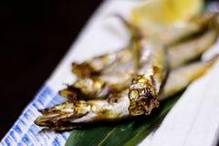 Poissons frits par Japonais avec la bouche ouverte Image libre de droits