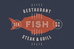 Poissons, fruits de mer Label de poissons d'icône de cru, logo, copie illustration libre de droits