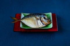 Poissons fumés d'un plat en céramique sur un fond concret bleu de fond Photographie stock libre de droits