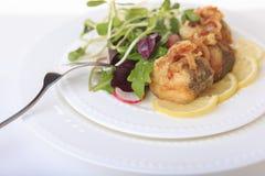 Poissons grillés avec de la salade sur le plan rapproché blanc de plat Photographie stock