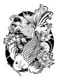 Poissons noirs et blancs de carpe de Koi Images libres de droits