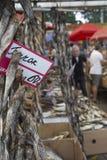 Poissons salés secs à un marché d'agriculteurs à Odessa, Ukraine Photo stock