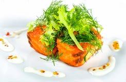 Poissons saumonés frits avec les feuilles de laitue et le fenouil frais, plan rapproché Images stock