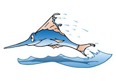 Poissons sautants de marlin sur le blanc d'isolement Images libres de droits