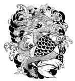 Poissons tirés par la main de dragon et de koi avec le tatouage de fleur pour le bras, japonais image carpe de vecteur de livre d illustration libre de droits