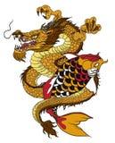 Poissons tirés par la main de dragon et de koi avec le tatouage de fleur pour le bras, japonais image carpe de vecteur de livre d illustration de vecteur