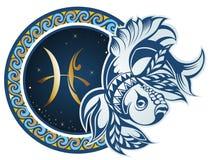 poissons zodiaque des symboles douze de signe de conception de dessin-modèles divers illustration libre de droits