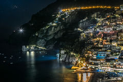 Poitano village at night. Comune on the Amalfi Coast (Costiera Amalfitana), in Campania, Italy Stock Image