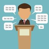 Poitician met toespraakbellen stock illustratie