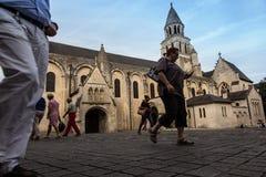Poitiers, Francia - 12 settembre 2016: Diga molto vecchia di Notre della chiesa Fotografia Stock Libera da Diritti