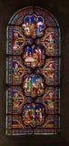 Poitiers, Frankrijk - September 12, 2016: Kleurrijke gebrandschilderd glaswi Royalty-vrije Stock Afbeelding