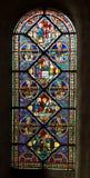 Poitiers, Frankrijk - September 12, 2016: Kleurrijke gebrandschilderd glaswi Royalty-vrije Stock Afbeeldingen