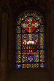 Poitiers, Frankrijk - September 12, 2016: Kleurrijke gebrandschilderd glaswi Royalty-vrije Stock Foto